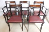 Set of Five Mahogany Carver Armchairs